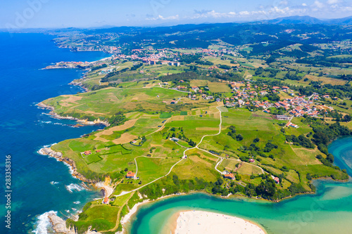 View from drone of Comillas, Cantabria