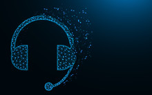 Headphone With Microphone Low Poly Design, Headset Abstract Geometric Image, Support Wireframe Mesh Polygonal Vector Illustration Made From Points And Lines On Dark Blue Backgr