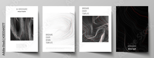 Fototapeta The vector illustration layout of A4 format modern cover mockups design templates for brochure, magazine, flyer, booklet, annual report. 3D grid surface, wavy vector background with ripple effect. obraz