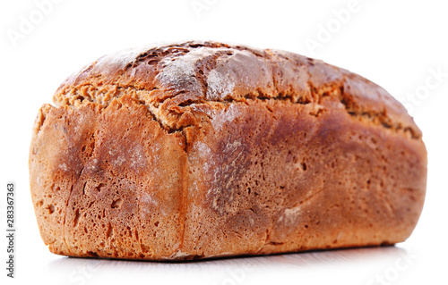 Obraz na plátně Large loaf of fresh organic bread isolated on white