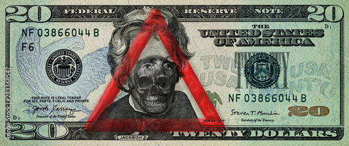 Dollar banknote with warning sign and skull Canvas Print