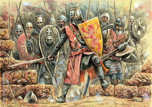 Cuadros en Lienzo  Medieval knights attack illustration