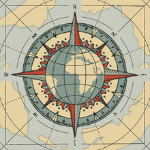 Compass Wind Rose And Globe Planet Earth