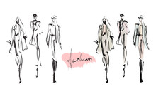 Young Stylish Girls. Women's Fashion Set. Hand-drawn Illustration. Sketch, Vector
