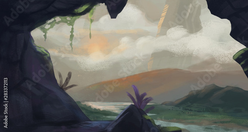 Cave opening to a vast sweeping sunrise environment with foggy atmosphere - digital fantasy painting
