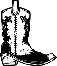 Hand Drawn Illustration Of Cowboy Boot Isolated On White Background. Design Element For Poster, Card, Banner, T Shirt, Emblem, Sign.