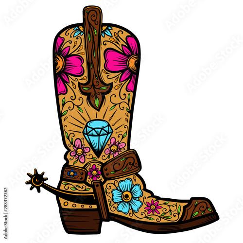 Vászonkép  Cowboy boot with floral pattern