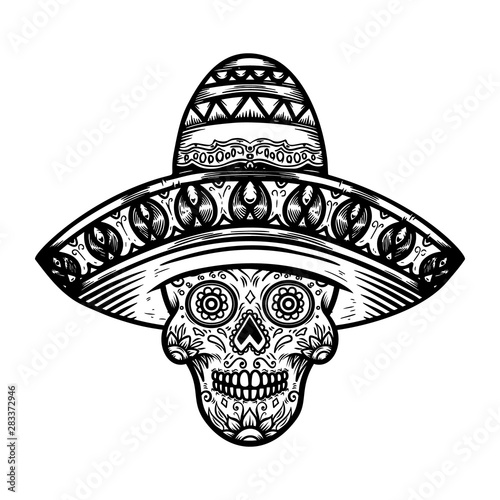 Mexican sugar skull in sombrero. Day of the dead theme. Design element for poster, t shirt, emblem, sign. Fototapete