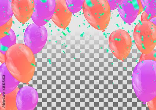 Fototapeta balloons, vector illustration. Confetti and ribbons, Celebration background template with obraz na płótnie