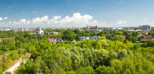 Montage in der Fensternische Pistazie Krakow. The green side of city. Panorama