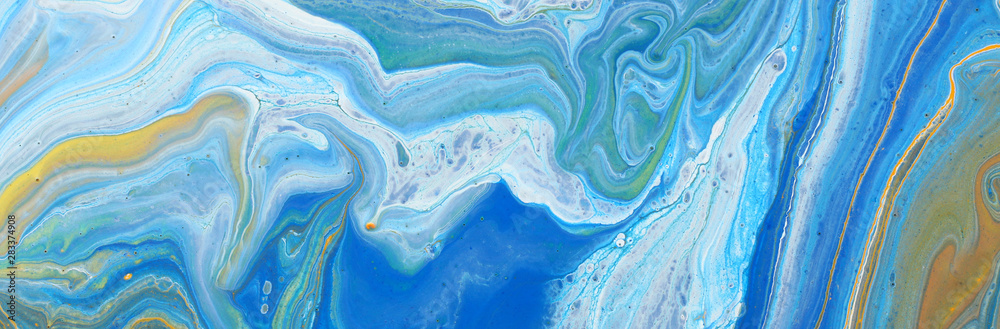 Fototapeta photography of abstract marbleized effect background. Blue, mint and white creative colors. Beautiful paint. banner