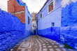 Leinwanddruck Bild - Sightseeing of Morocco. Beautiful blue medina of Chefchaouen town in Morocco