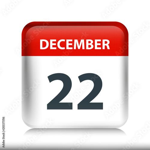 Fotografia  December 22 - Glossy Calendar Icon - Calendar design template