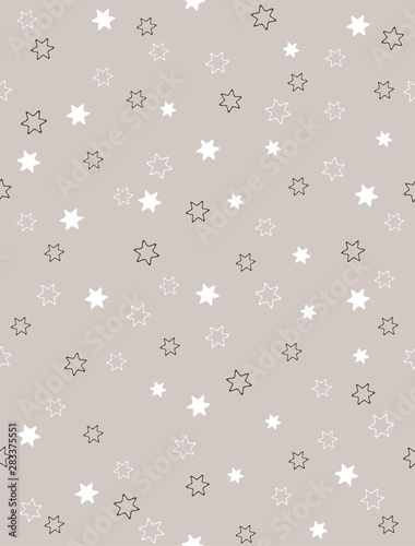Plissee mit Motiv - Cute Tiny Stars Vector Pattern. White and Black Stars Isolated on a Light Gray Background. Simple Starry Abstract Sky. Pastel Color Little Stars Print for Fabric, Wrapping Paper, Party Decoration. (von Magdalena)