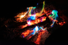 Colorful Bonfire In A Fire Pit