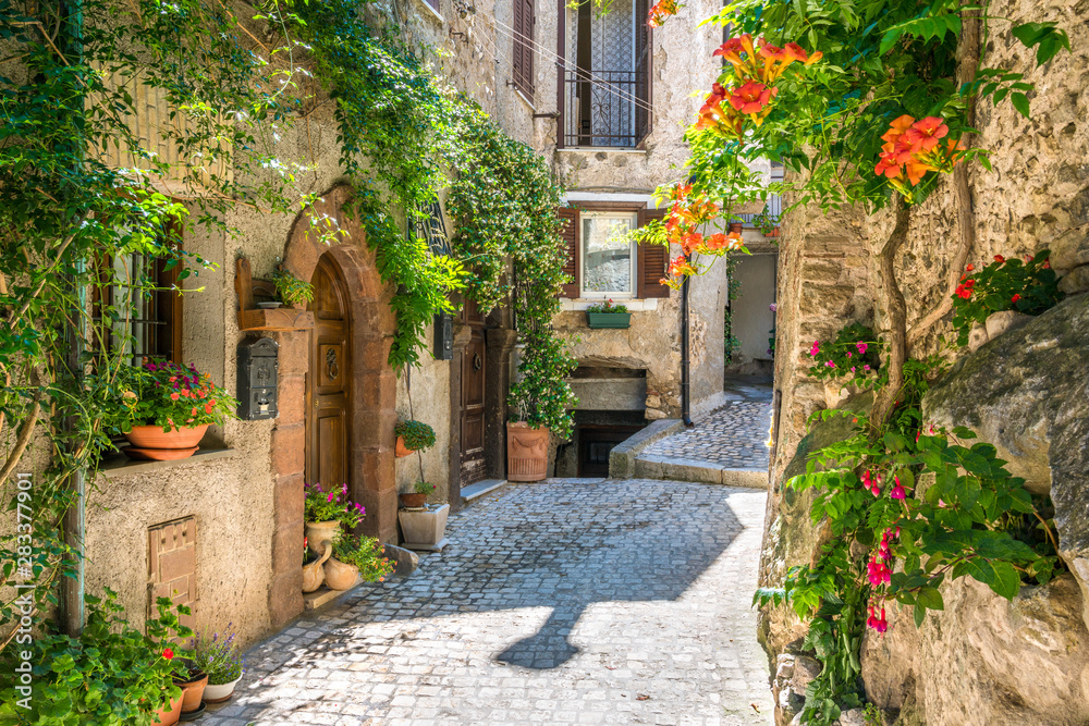 Fototapeta Scenic sight in Artena, old rural village in Rome Province, Latium, central Italy.