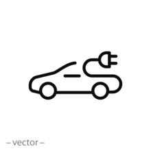 Electric Car Icon, Thin Line Symbol On White Background - Editable Stroke Vector Illustration Eps 10