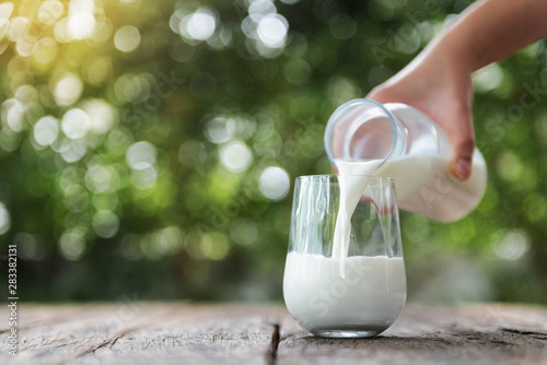 Valokuvatapetti Pouring milk in the glass on the wooden table with bokeh background of nature