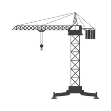 Tower Crane Icon. Vector On A White Background