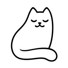 Cartoon White Cat Drawing
