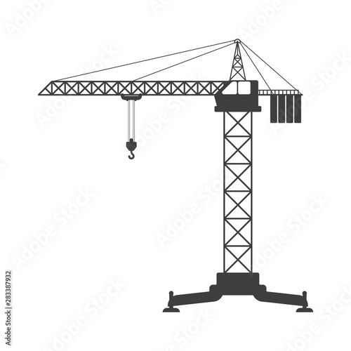 фотография Tower crane icon. Vector on a white background