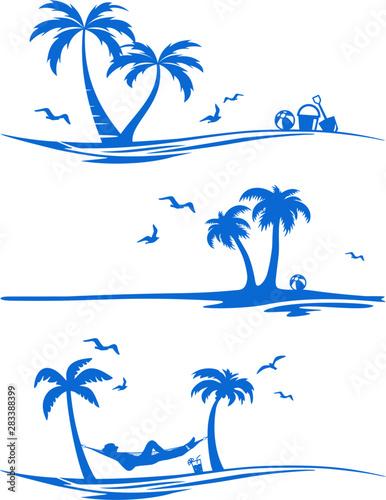 Beach Palm Skyline Vector Silhouette Wall mural
