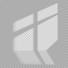 Window Light And Shadow Realistic Grey Decorative Background. Transparent Shadow Overlay Effects For Branding.