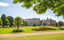 London, UK. English Garden View And The East Front Of Hampton Court 17th Century Locates West London