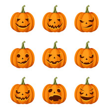 Vector Set Of Nine Jack-o'-lan...