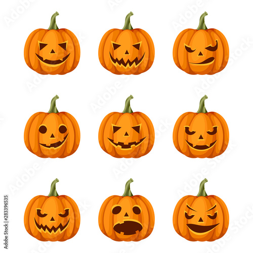 Fototapeta  Vector set of nine jack-o'-lanterns (Halloween pumpkins) isolated on a white background