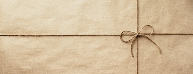 parcel banner - brown craft paper with twine