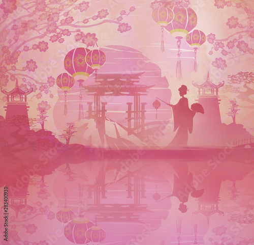 Montage in der Fensternische Rosa Lovey Abstract landscape with Geisha, Mid-Autumn Festival for Chinese New Year