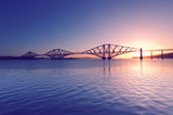 Firth of Forth with Forth Bridge at sunrise near Edinburgh, Scotland