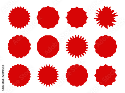 Fototapeta Starburst stickers. Star shaped sale banners, speech bubble stickers. Red explosion signs, promo price coupon tag vector isolated set obraz