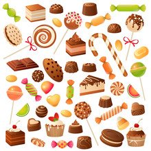 Sweet Candies. Candy Bonbon Lollipop, Marmalade And Fruit Candied. Chocolate And Marshmallow, Kids Holiday Desserts Flat Vector Set