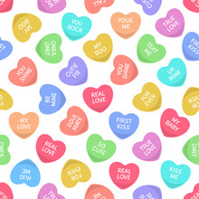 Candy Seamless Hearts Pattern. Colorful Heart Candies, Sweets For Valentine Day Love Writings, Sweetheart Message. Vector Texture
