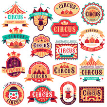 Circus Emblems. Carnival Festival, Fun Circus Show Retro Paper Signboard Invitational Banners Event Frames Arrow Stickers. Vector Set