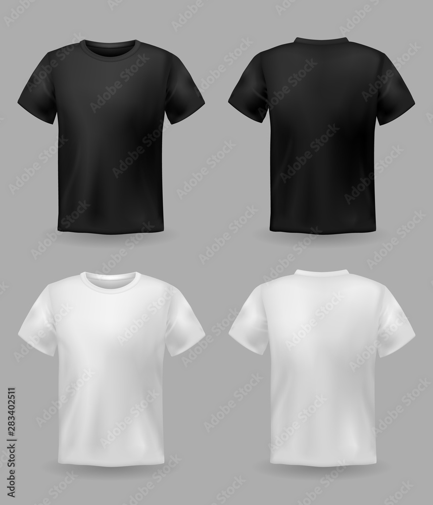 Fototapeta White and black t-shirt mockup. Sport blank shirt template front and back view, men and women clothes for fashion print vector set