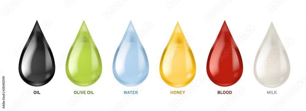 Fototapeta Different liquids drops. Colorful droplets of oil, honey and milk, water. Petrol and blood falling drop realistic vector set