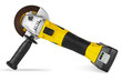 Leinwanddruck Bild - yellow cordless battery pack powered angle grinder electric hand diy construction tool machine isolated white background