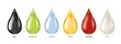 Different liquids drops. Colorful droplets of oil, honey and milk, water. Petrol and blood falling drop realistic vector set