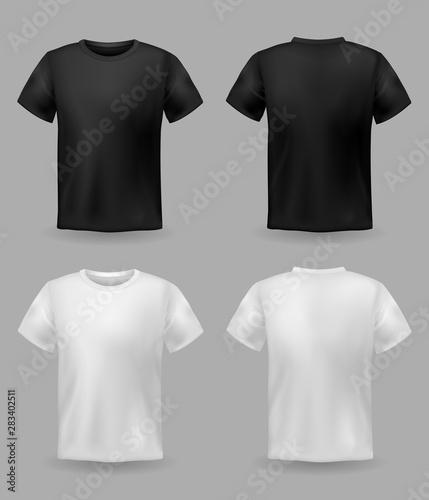 Fotomural  White and black t-shirt mockup