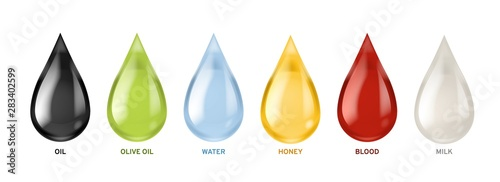 Obraz Different liquids drops. Colorful droplets of oil, honey and milk, water. Petrol and blood falling drop realistic vector set - fototapety do salonu