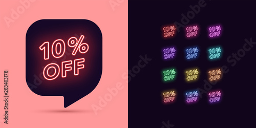 Fotografía Neon Discount Tag, 10 Percentage Off. Offer Sale