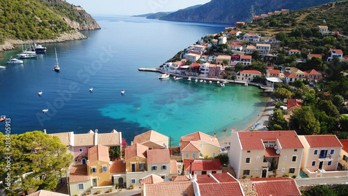 Fototapety, obrazy: Aerial drone bird's eye view photo of beautiful and picturesque colorful traditional fishing village of Assos in island of Cefalonia, Ionian, Greece