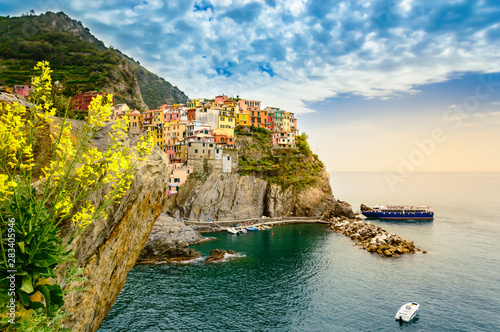 Canvas Prints Liguria Manarola, Cinque Terre - romantic village with colorful houses on cliff over sea in Cinque Terre National Park