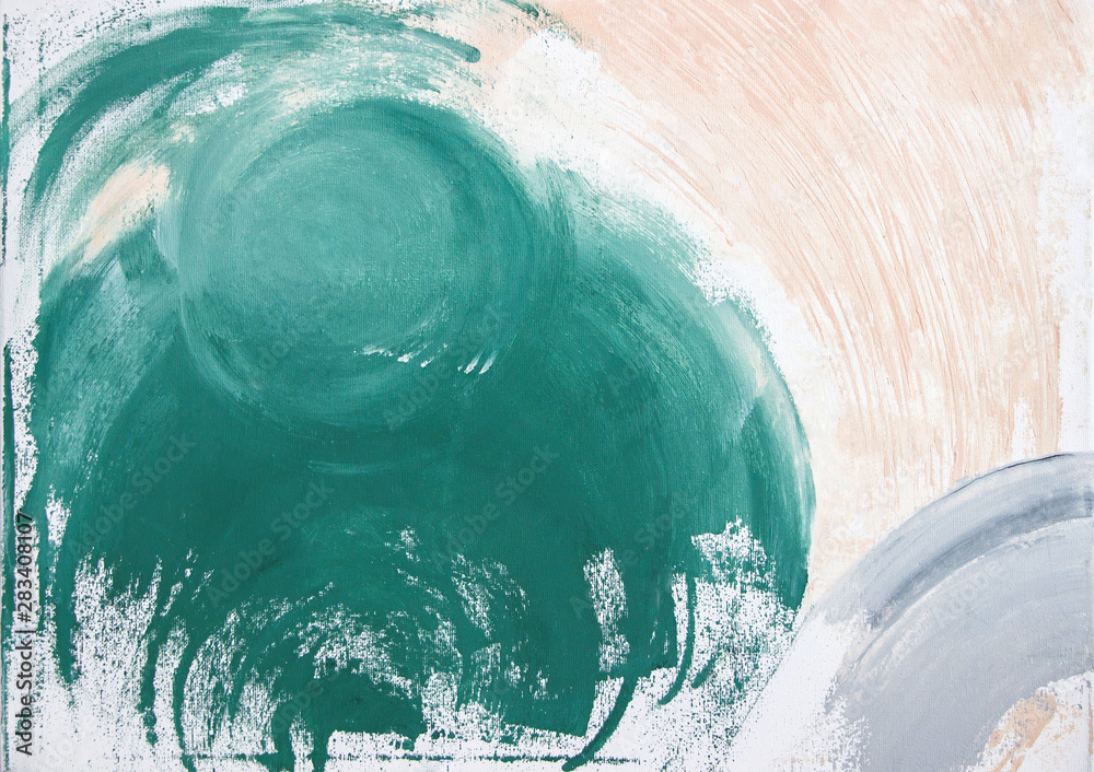 Fototapeta abstract green acrylic painting on canvas