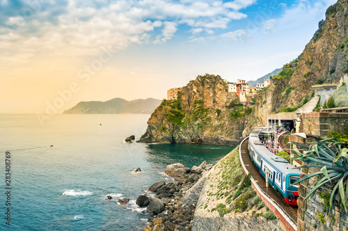 Manarola, Cinque Terre - train station in famous village with colorful houses on Poster Mural XXL