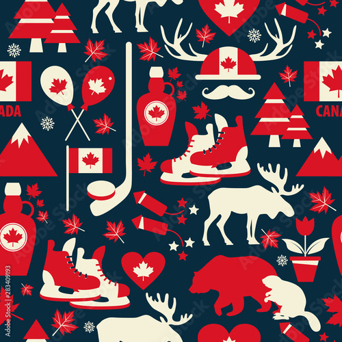 Photo sur Aluminium Art abstrait Canada sign and symbol, Info-graphic elements flat icons set in seamless pattern.