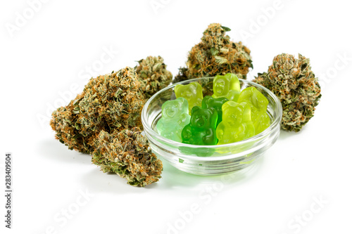 Cuadros en Lienzo  marijuana edibles over white